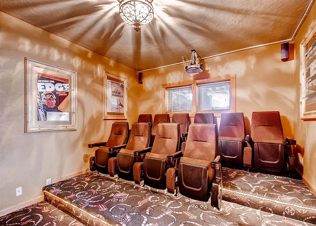 abound in Ski Classic Lodge! Enjoy a good movie from the surround sound theater room.