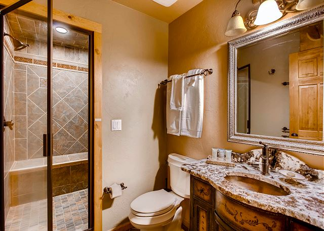 with walk-in shower