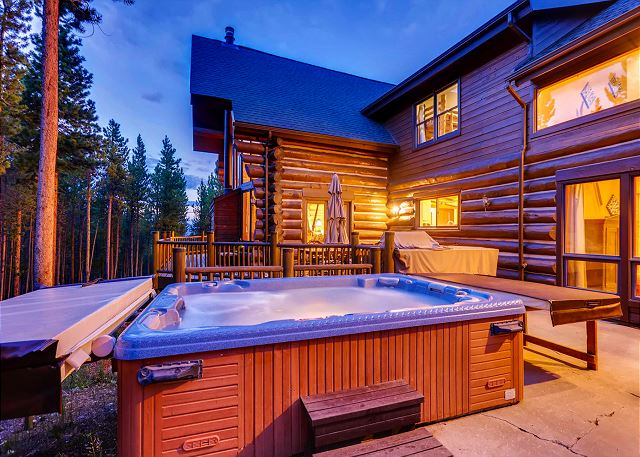 in the private hot tub looking through the trees to a green ski run! It can't get any better than this.
