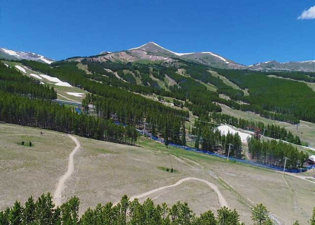 high above Ski Classic Lodge in the green summer months.