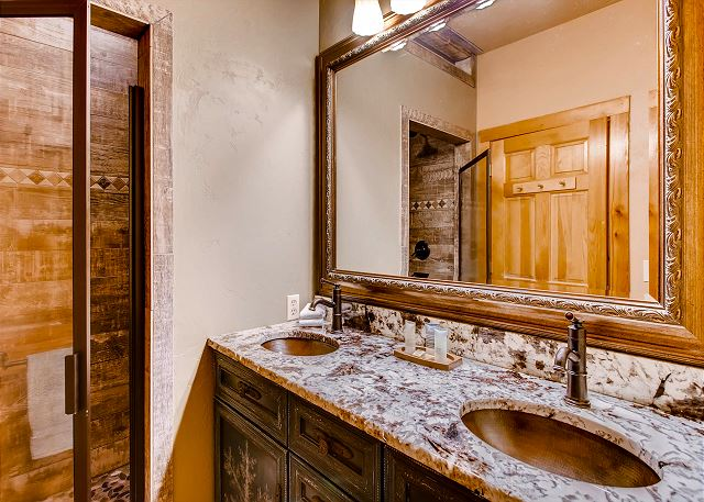 with shower and dual sinks