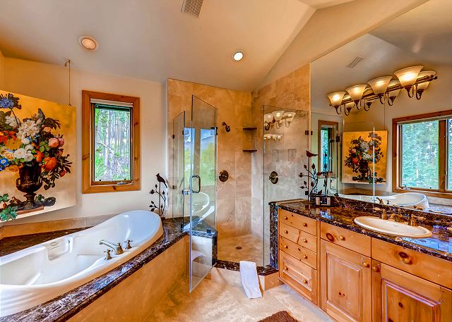 ensuite bath with tub and separate shower