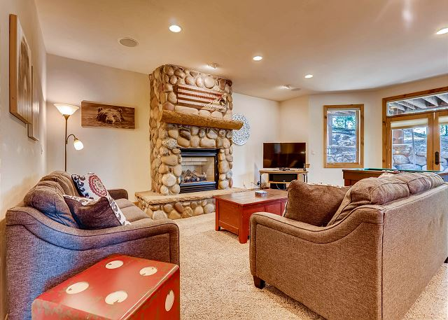 Xbox/DVD player, and fireplace