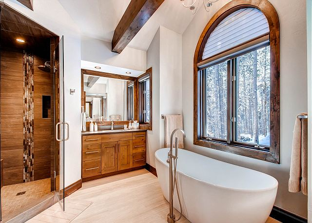 Star of the Mountain King Ensuite Bath with Soaking Tub and Walk in Shower, Two Vanities