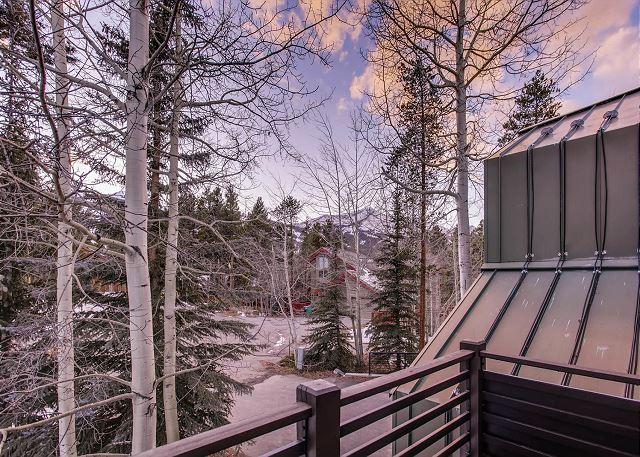 Deck overlooking front of home