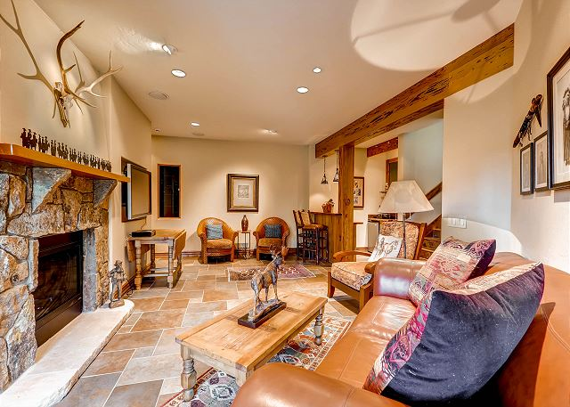 Lower Level Den with Gas Fireplace and Wet Bar