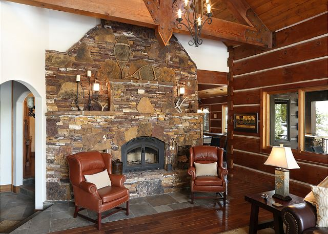 Enjoy a warm and comfy setting by fireside