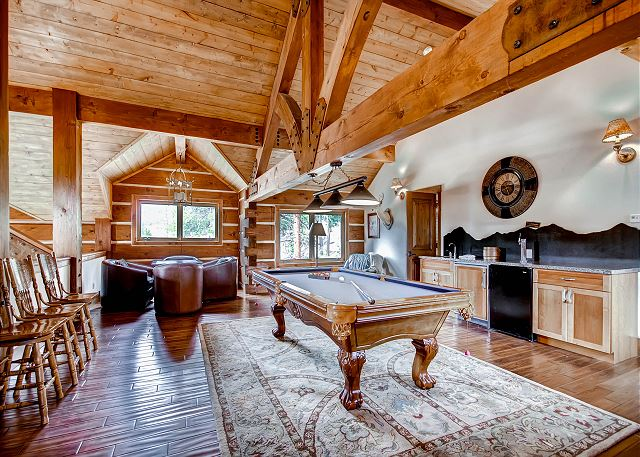 Loft on Upper Level features billiards table, game table and wet bar