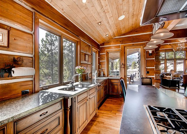 open concept kitchen to dining and living area
