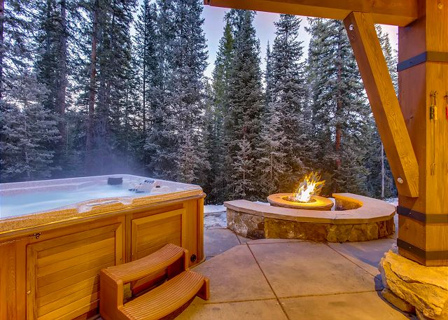 and your many exterior ambiances ~  Enjoy a private hot tub soak and radiant heat from the outdoor fire pit!