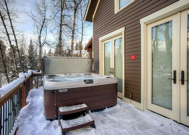 Hot Tub sits outside the Living Area