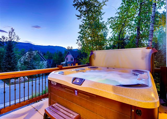 in the private hot tub overlooking the Breckenridge Ski Mountains