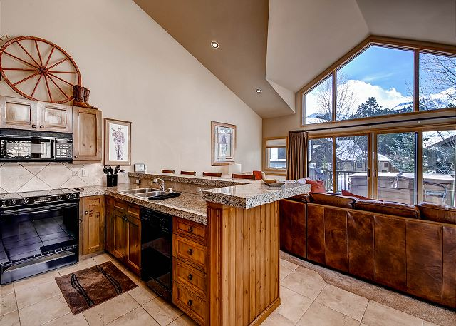 Open kitchen to living area with plenty of daylight