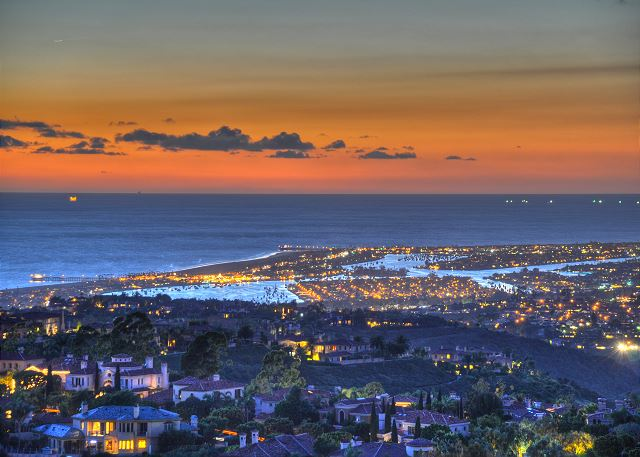 Aerial of Newport Harbor Area & Sunset View
