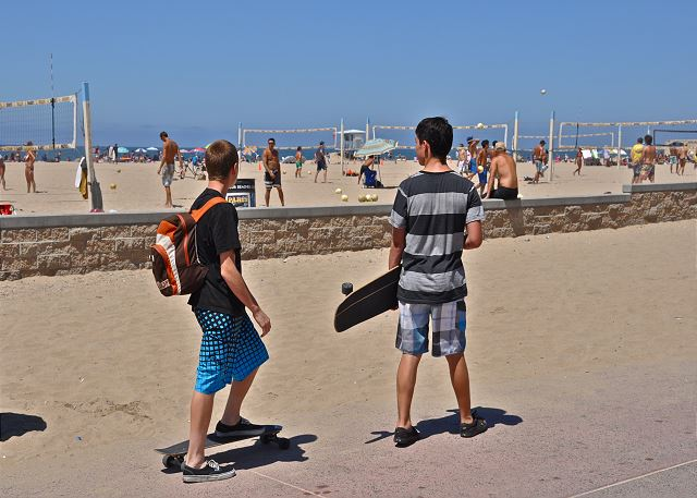 Skateboarding on Balboa Peninsula