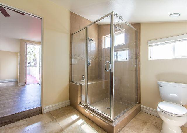Large shower in bathroom
