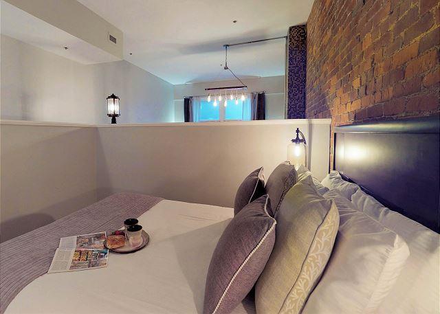 Queen Bed in Loft overlooking Living Room & Kitchen