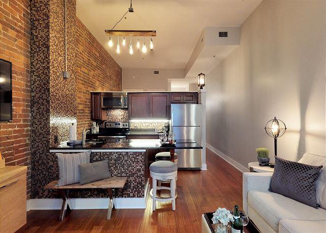 Beautiful Brick Wall in Kitchen & Living Room