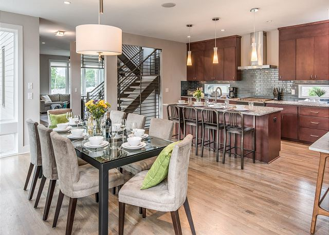 Great Flow and Very Open through Kitchen, Dining & Living Areas
