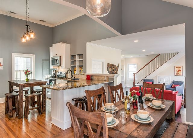 Enjoy the large open flow kitchen with island, breakfast bar, and dining area!