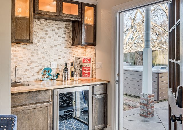 The Wine Bar – with sink and wine fridge just steps away from the Hot Tub!