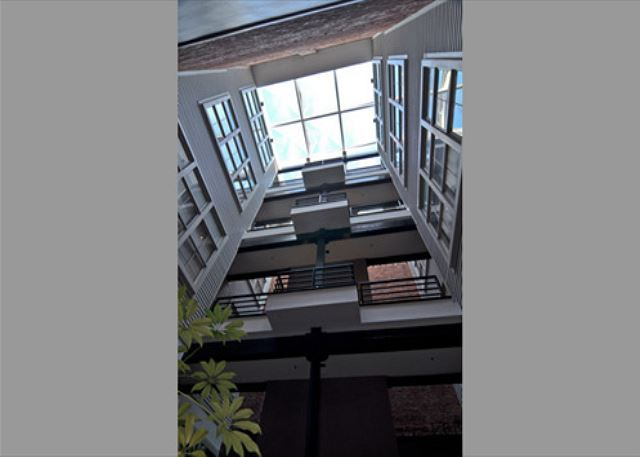 Looking up at the skylight in The Quarters atrium