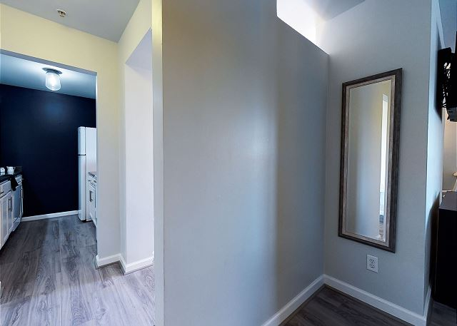View From the Hallway (Bathroom behind you, bedroom on the right, kitchen and main living strait ahead)