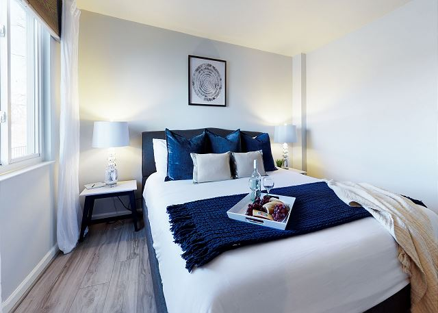 Fresh, Luxe Linens and plenty of clean, comfy pillows
