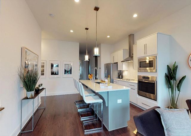 Stainless Steel Appliances, Gas Range, and Stone Counter Tops, SO LUXURIOUS!