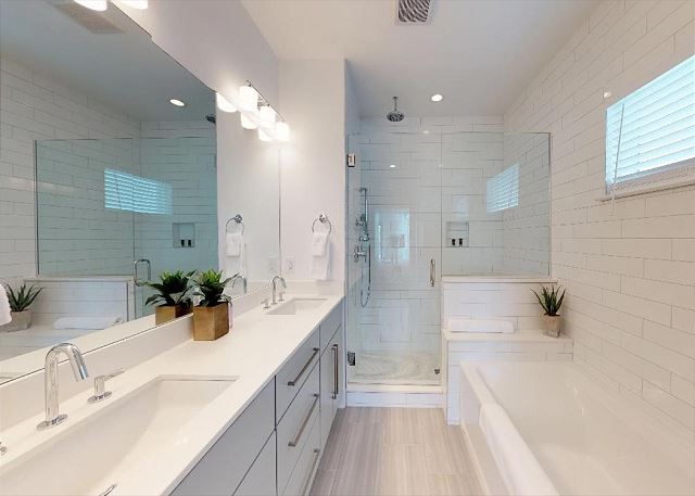 Master Bath; Double Vanity Sinks, Separate Large Tub & Glass Shower with Rain Shower Head