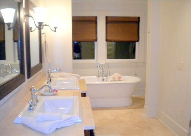 Master bath with separate soaking tub and dual head shower
