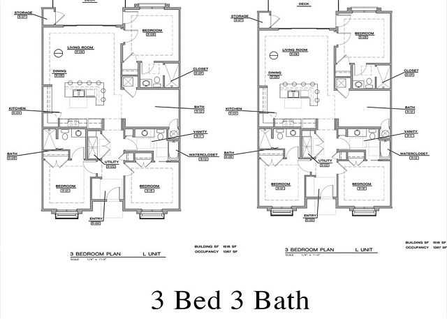 Floorplan for three bedroom suite at Estancia Resort