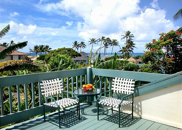 Ocean views from the upstairs bedroom private lanai.