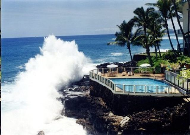 Poipu Shores pounding surf and oceanfront pool