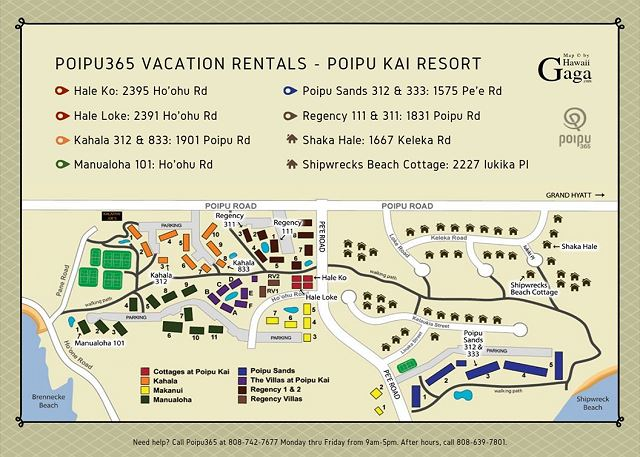 Poipu Kai Resort Map with designations for Poipu365 properties