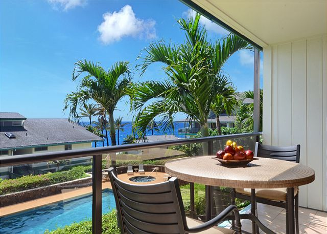Lovely ocean views from the lanai of newly renovated Makahuena 2