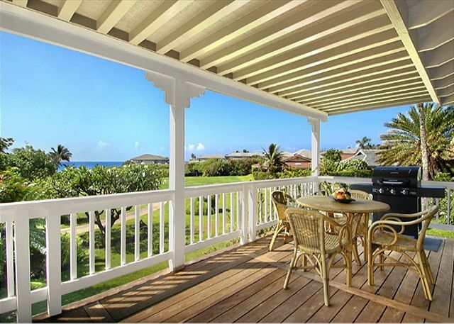 The spacious covered lanai fronts the living area of the house and provides panoramic views of Shipwreck's Beach and rolling green landscaped walkway to a variety of beaches, the pool and hot tub, tennis, dining and shopping.