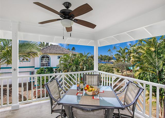 This charming home has whitewater and sunset views from the spacious lanai plus a BBQ grill, lovely furniture and furnishings, wall mounted A/C in living area & bedrooms, plus a portable in lower level family room & bedroom.