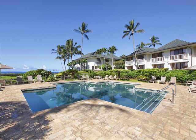 Lovely Oceanside Poipu Kapili pool and pool deck
