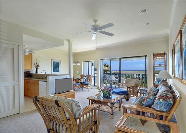 Poipu Sands 333 living room, kitchen, dining, lanai area
