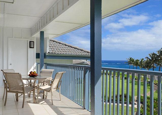 Enjoy the views of the ocean, swaying palms & pool from Poipu Sa