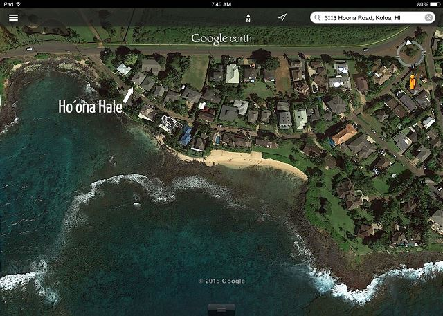 Aerial of Ho'ona Hale's proximity to Poipu's beaches