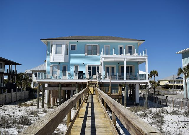 Gulf side of the home with private dune walkover and great deck space