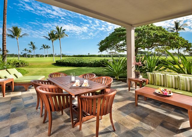 Gather together and enjoy the relaxing Hawaiian atmosphere. Children will love the extra grassy space in front of the lanai.