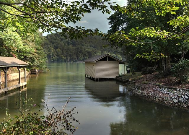 Lake Lure at Dogwood on the Lake. Private boat house and dock.  Walk or ride to all amenities at Rumbling Bald Resort including indoor and outdoor pools, golf, marina, beach, mini golf, lazy river ride, fitness center, spa and more!
