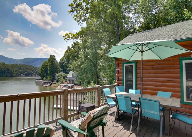 Stunning views from this private vacation rental home on Lake Lure.  Sleeps 12