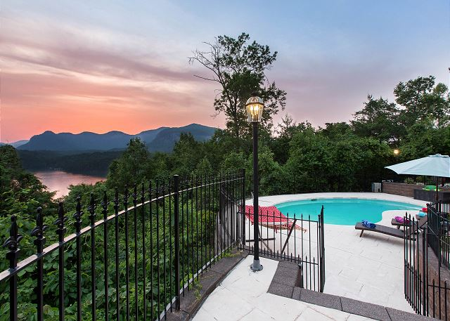Enjoy amazing views of Chimney Rock State Park Mountains and beautiful Lake Lure in this amazing vacation rental home on Lake Lure.