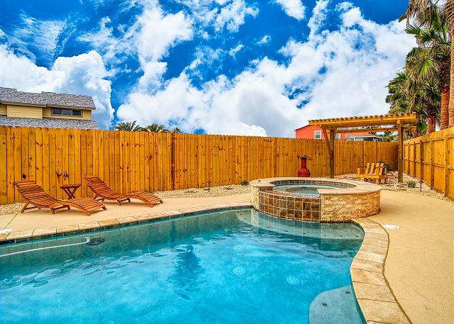 Private lighted swimming pool and hot tub