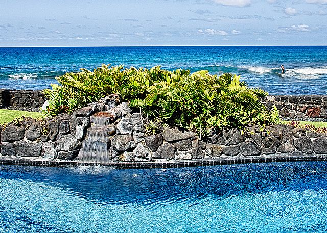 Oceanfront Pool with Waterfall, Surfers all Day Long