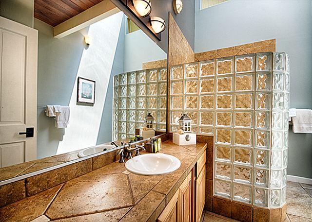 Kona Coffee Suite Bath, Glass Block Walk-in Shower, Vaulted Ceil